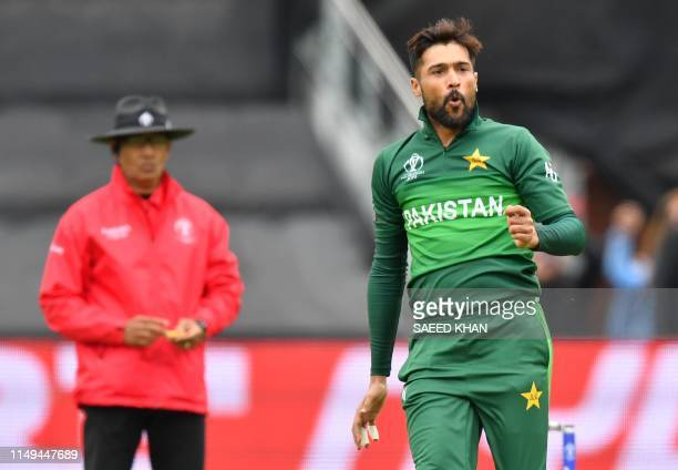 Pakistan's Mohammad Amir gestures after a delivery during the 2019 Cricket World Cup group stage match between Australia and Pakistan at The County...