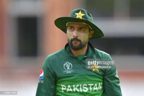 Pakistan's Mohammad Amir looks on during the 2019 Cricket World Cup group stage match between Pakistan and Bangladesh at Lord's Cricket Ground in...