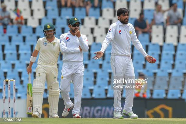 Pakistan's Mohammad Amir reacts during day three of the 1st cricket test match between South Africa and Pakistan at SuperSport Park cricket stadium...