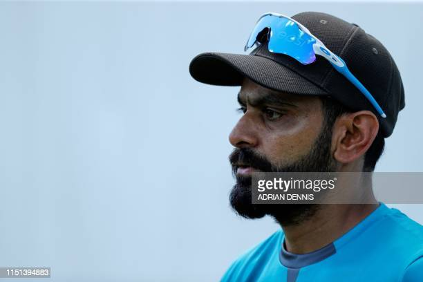 Pakistan's Mohammad Hafeez looks on during fielding practice at Lords Cricket Ground in London on June 22 ahead of Pakistan's next 2019 Cricket World...