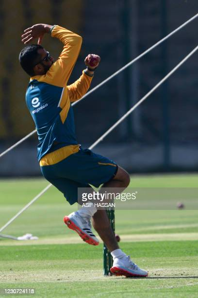 Pakistan's Mohammad Nawaz attends a practice session at the National Stadiumin Karachi on January 22 ahead of their first cricket test match against...