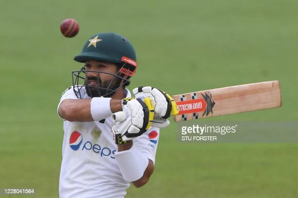 Pakistan's Mohammad Rizwan plays a shot on the second day of the second Test cricket match between England and Pakistan at the Ageas Bowl in...