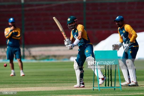 Pakistan's Muhammad Rizwan and Sarfaraz Ahmed attend a practice session at the National Stadiumin Karachi on January 22 ahead of their first cricket...
