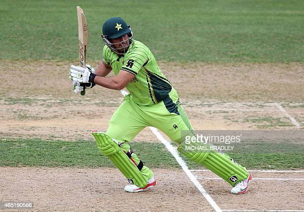 Pakistan's Nasir Jamshed plays a shot during the Pool B Cricket World Cup match between United Arab Emirates and Pakistan at McLean Park in Napier on...