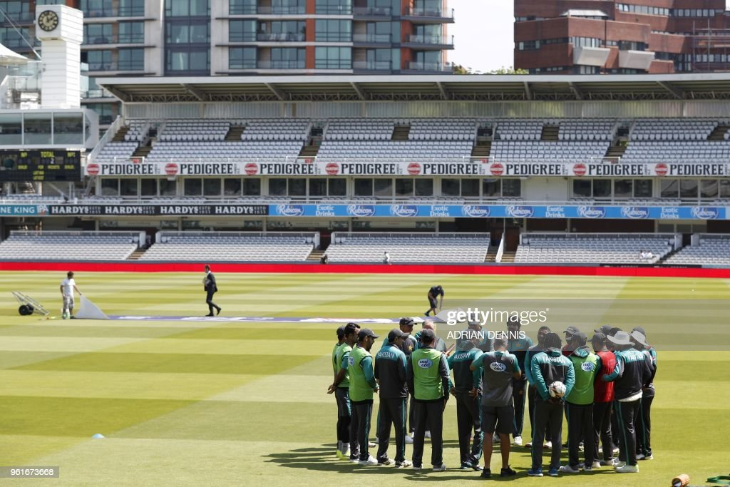 Pakistan's players attend a practice session at Lord's Cricket Ground in London on May 23, 2018, on the eve of the first Test match between England and Pakistan.