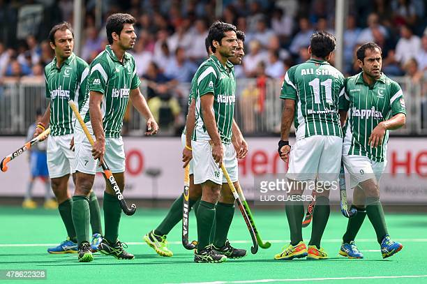 Pakistan's players look on during the Group A field hockey match between Pakistan and India of the men's group stage of the World League semifinal in...