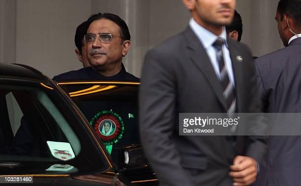 Pakistan's President Asif Ali Zardari leaves the back entrance to Birmingham's International Convention Centre on August 7, 2010 in Birmingham,...