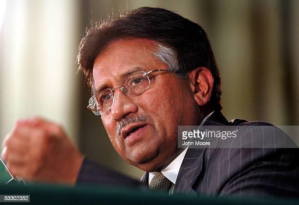Pakistan's President Gen Pervez Musharraf addresses the international media at a press conference July 29 2005 in Rawalpindi Pakistan Musharraf said...
