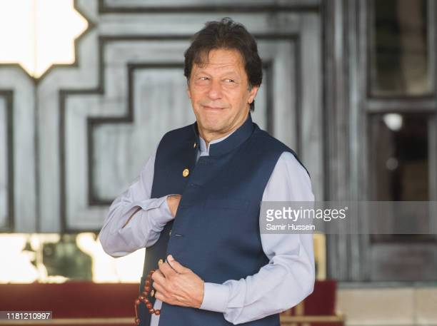 Pakistan's Prime Minister Imran Khan ahead of the visit of the Duke and Duchess of Cambridge at his official residence on October 15, 2019 in...