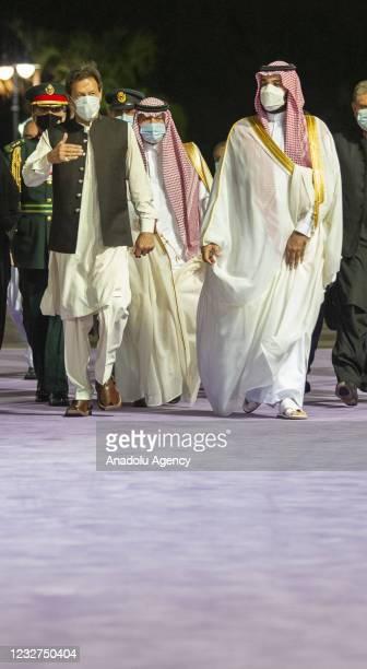 Pakistan's Prime Minister Imran Khan is welcomed by Crown Prince of Saudi Arabia Mohammed bin Salman during his visit in Riyadh, Saudi Arabia on May...