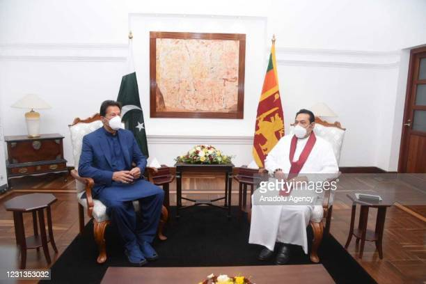 Pakistan's Prime Minister Imran Khan meets his Sri Lankan counterpart Mahinda Rajapaksa in Colombo, Sri Lanka on February 24, 2021 on the second day...