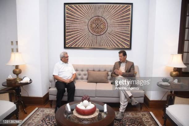 Pakistan's Prime Minister Imran Khan meets his Sri Lankan President Gotabaya Rajapaksa in Colombo, Sri Lanka on February 24, 2021 on the second day...