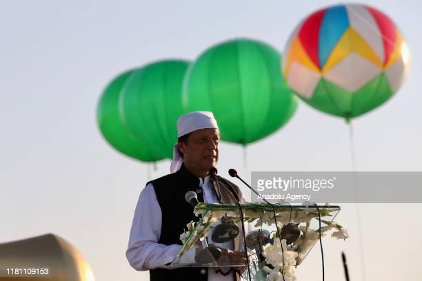Pakistan's Prime Minister Imran Khan speaks after inaugurating the ceremony at the Temple of Baba Guru Nanak Dev at Gurdwara Darbar Sahib in...