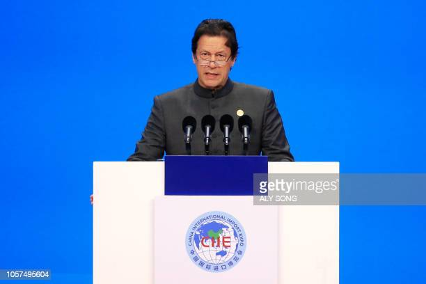 Pakistan's Prime Minister Imran Khan speaks at the opening ceremony of the first China International Import Expo in Shanghai on November 5, 2018. -...