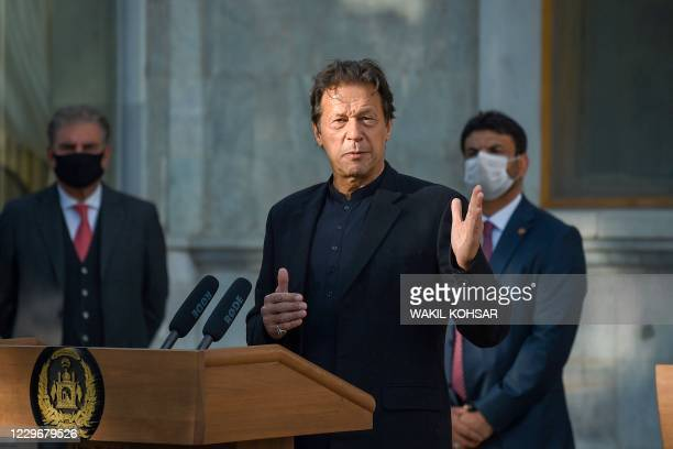 Pakistan's Prime Minister Imran Khan speaks during a joint press conference with Afghan president at the Presidential Palace in Kabul on November 19,...