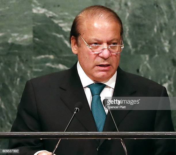 Pakistan's Prime Minister Nawaz Sharif addresses the General Assembly at the United Nations on September 21 2016 in New York City Presidents prime...