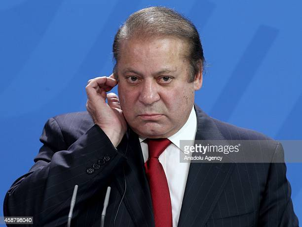 Pakistan's Prime Minister Nawaz Sharif gives a speech during a joint press release with Germany's Chancellor Angela Merkel after their meeting at the...
