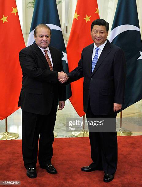 Pakistan's Prime Minister Nawaz Sharif meets with Chinese President Xi Jinping at the Great Hall of the People November 8 2014 in Beijing China