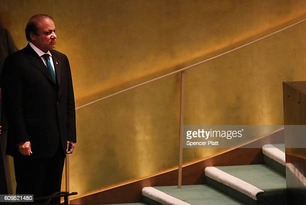 Pakistan's Prime Minister Nawaz Sharif prepares to address the General Assembly at the United Nations on September 21 2016 in New York City...