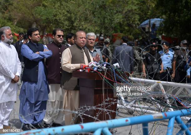 Pakistan's Prime Minister Nawaz Sharif speaks to media after appearing before an anticorruption commission at the Federal Judicial Academy in...