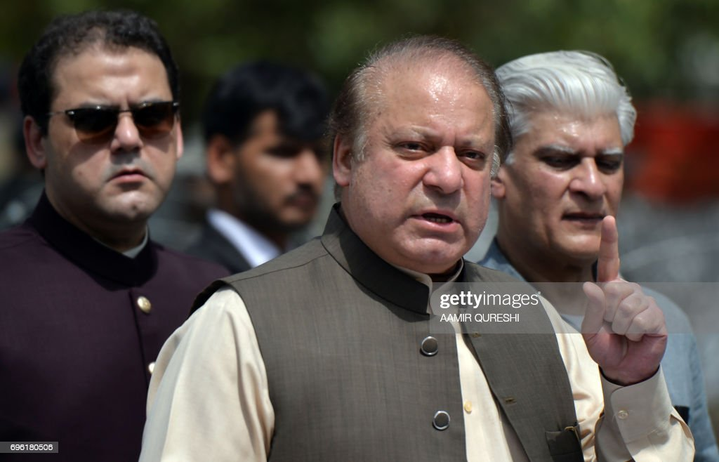 Pakistan's Prime Minister Nawaz Sharif speaks to media after appearing before an anti-corruption commission at the Federal Judicial Academy in Islamabad on June 15, 2017. Pakistan's prime minister Nawaz Sharif appeared before an anti-corruption investigation commission June 15, in an ongoing case that has gripped Pakistan and threatened to topple him after the Panama Papers leak last year. /