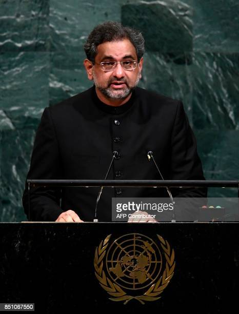 Pakistan's Prime Minister Shahid Khaqan Abbasi addresses the 72nd Session of the United Nations General assembly at the UN headquarters in New York...