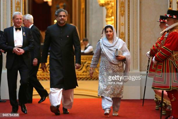 Pakistan's Prime Minister Shahid Khaqan Abbasi arrarrives to attend The Queen's Dinner during The Commonwealth Heads of Government Meeting at...