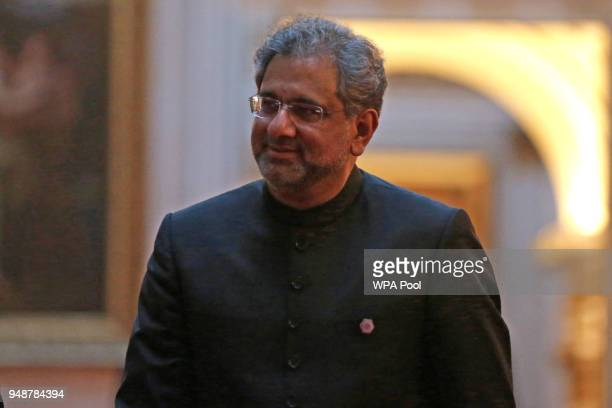 Pakistan's Prime Minister Shahid Khaqan Abbasi arrives to attend The Queen's Dinner during The Commonwealth Heads of Government Meeting at Buckingham...