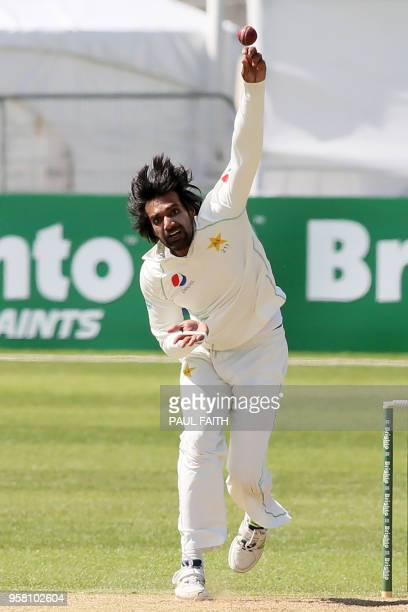 Pakistan's Rahat Ali bowls during play on day three of Ireland's inaugural test match against Pakistan at Malahide cricket club in Dublin on May 13...