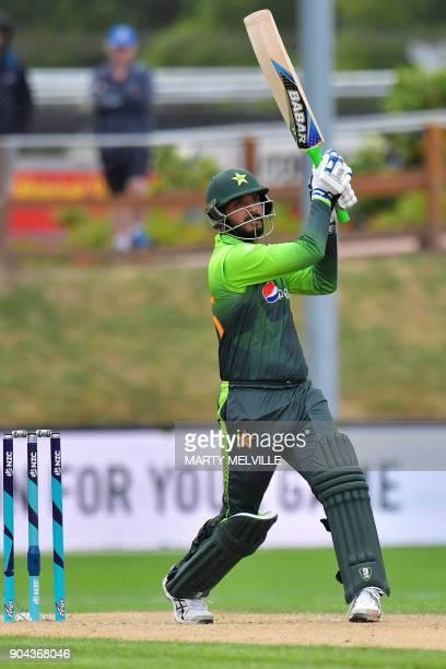 Pakistan's Rumman Raees bats during the third one day international cricket match between New Zealand and Pakistan at University Oval in Dunedin on...