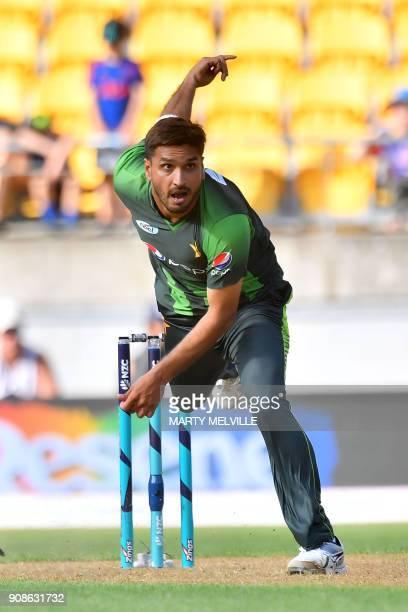 Pakistan's Rumman Raees bowls during the first Twenty20 international cricket match between New Zealand and Pakistan at Westpac Stadium in Wellington...