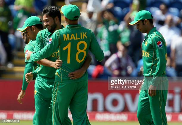 Pakistan's Rumman Raees celebrates the wicket of England's Alex Hales for 13 runs during the ICC Champions Trophy semifinal cricket match between...