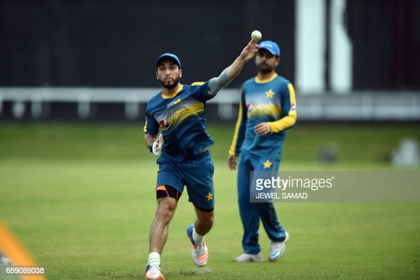 Pakistan's Rumman Raees fields a ball during a practice session at the Queen's Park Oval in Port of Spain Trinidad on March 28 2017 / AFP PHOTO /...