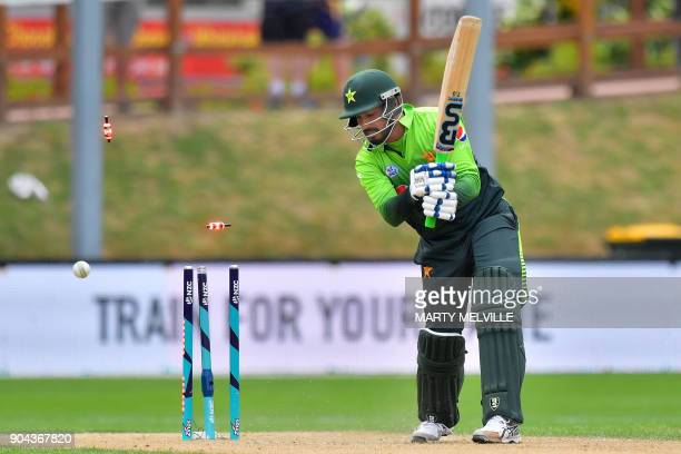Pakistan's Rumman Raees is bowled ending the Pakistan innings during the third one day international cricket match between New Zealand and Pakistan...