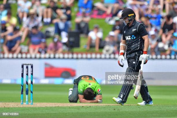 Pakistan's Rumman Raees reacts to missing the stumps to run out New Zealand's Tom Latham during the 5th oneday international cricket match between...