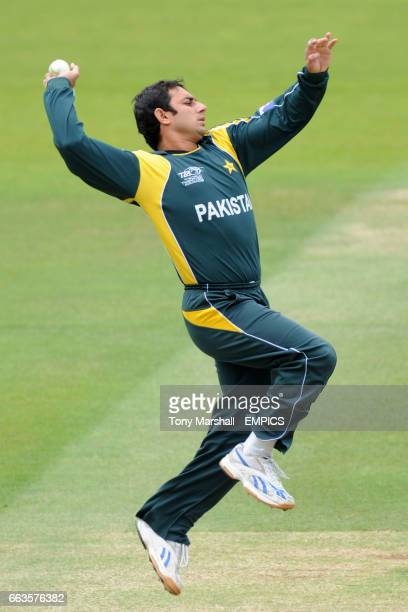Pakistan's Saeed Ajmal bowls against Sri Lanka