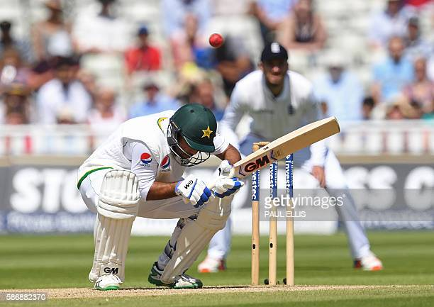 Pakistan's Sami Aslam ducks under a short ball during play on the final day of the third test cricket match between England and Pakistan at Edgbaston...