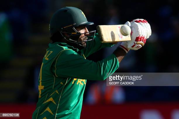 Pakistan's Sarfraz Ahmed hits the final matchwinning boundary during the ICC Champions Trophy match between Sri Lanka and Pakistan in Cardiff on June...
