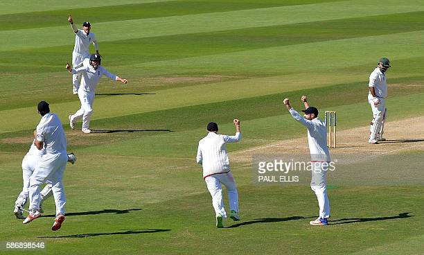 Pakistan's Sarfraz Ahmed reacts after edging to England's Joe Root during play on the final day of the third test cricket match between England and...