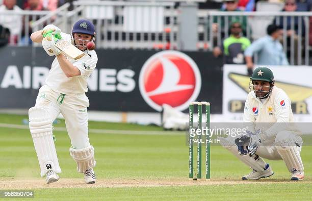 Pakistan's Sarfraz Ahmed watches as Ireland's Niall O'Brien plays a shot during play on day four of Ireland's inaugural test match against Pakistan...
