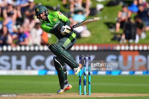 Pakistan's Shadab Khan bats during the 5th oneday international cricket match between New Zealand and Pakistan at the Basin Reserve in Wellington on...