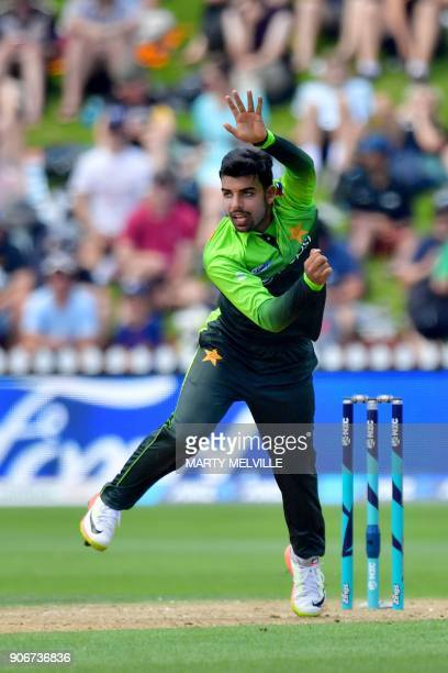 Pakistan's Shadab Khan bowls during the 5th oneday international cricket match between New Zealand and Pakistan at the Basin Reserve in Wellington on...