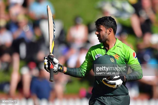 Pakistan's Shadab Khan celebrates 50 runs during the 5th oneday international cricket match between New Zealand and Pakistan at the Basin Reserve in...
