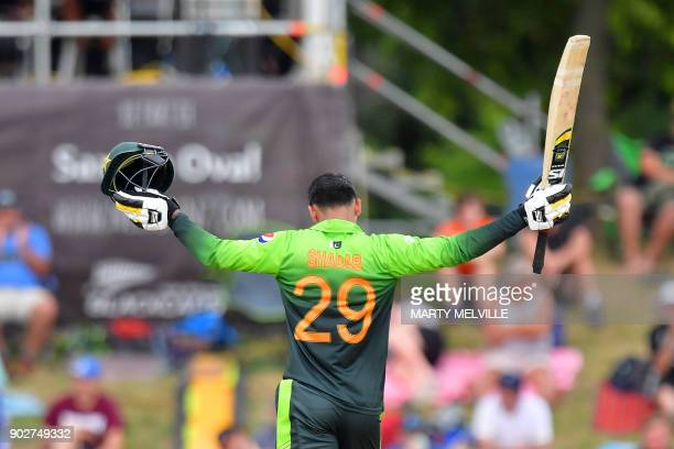 Pakistan's Shadab Khan celebrates 50 runs during the second one day international cricket match between New Zealand and Pakistan at Saxton Oval in...