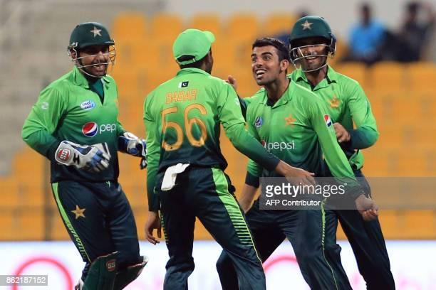 Pakistan's Shadab Khan celebrates after dismissing Sri Lanka's Milinda Siriwardana during the second one day international cricket match between Sri...