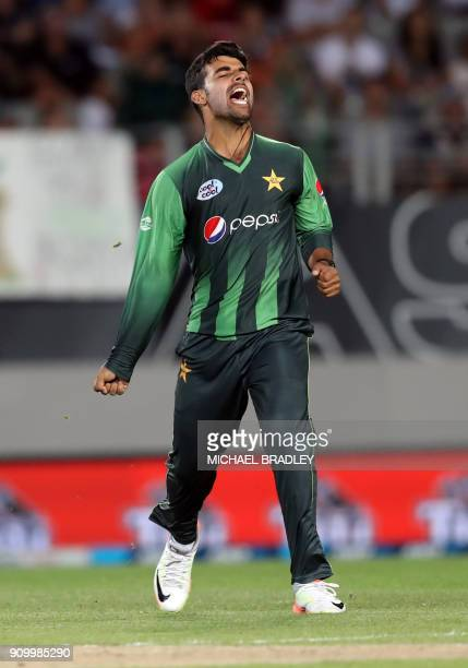 Pakistan's Shadab Khan celebrates after taking the wicket of New Zealand's Colin de Grandhomme during the second Twenty20 international cricket match...