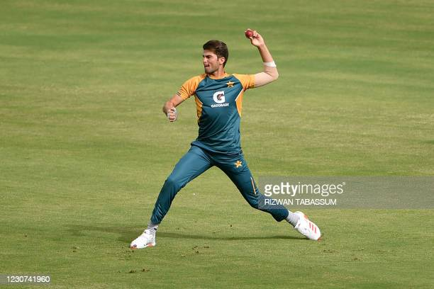 Pakistan's Shaheen Afridi attends a practice session at the National Stadium in Karachi on January 23 ahead of their first cricket test match against...