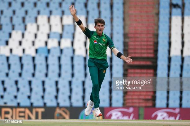 Pakistan's Shaheen Shah Afridi successfully appeals for the dismissal of South Africa's Aiden Markram during the third one-day international cricket...