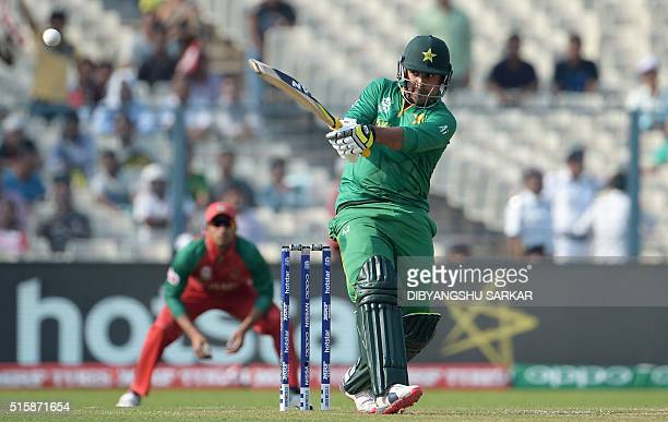 Pakistan's Sharjeel Khan plays a shot during the World T20 tournament cricket match between Bangladesh and Pakistan at The Eden Gardens Cricket...