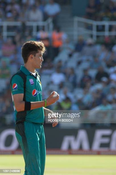 Pakistan's Sheehan Afridi looks on as he gets ready to bowl the ball during the 5th One Day International cricket match between South Africa and...